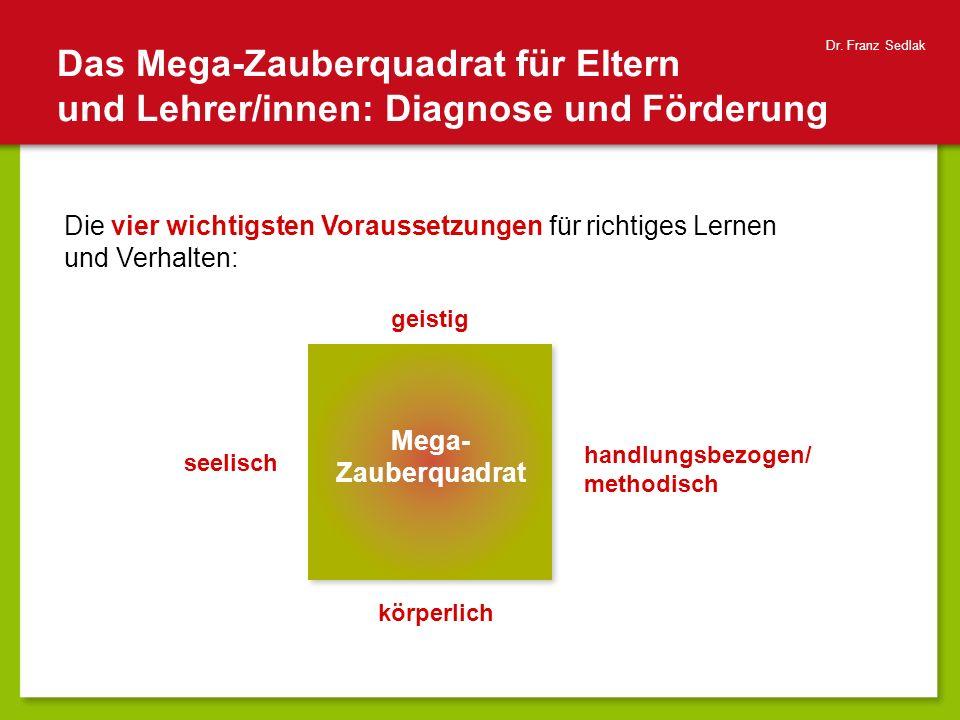 Das Mega-Zauberquadrat für Eltern und Lehrer/innen: Diagnose und Förderung Dr. Franz Sedlak seelisch körperlich handlungsbezogen/ methodisch geistig M