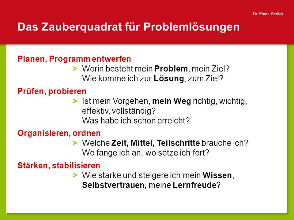 Das Zauberquadrat für Problemlösungen Planen, Programm entwerfen >Worin besteht mein Problem, mein Ziel? Wie komme ich zur Lösung, zum Ziel? Prüfen, p