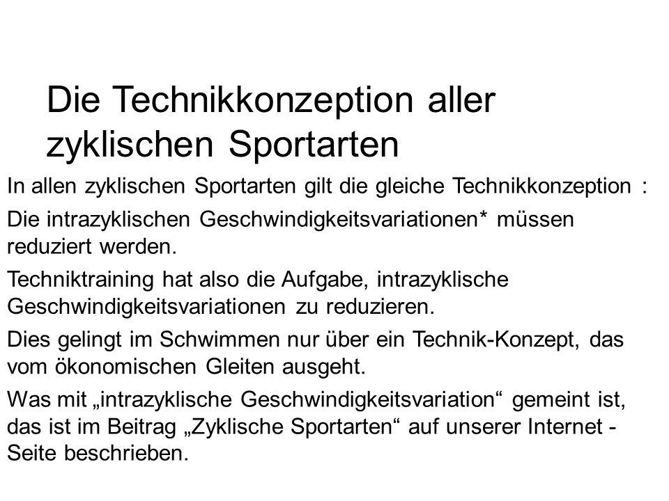 Die Technikkonzeption aller zyklischen Sportarten In allen zyklischen Sportarten gilt die gleiche Technikkonzeption : Die intrazyklischen Geschwindigk
