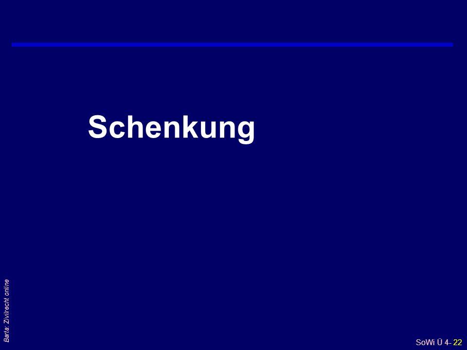 SoWi Ü 4- 22 Barta: Zivilrecht online Schenkung