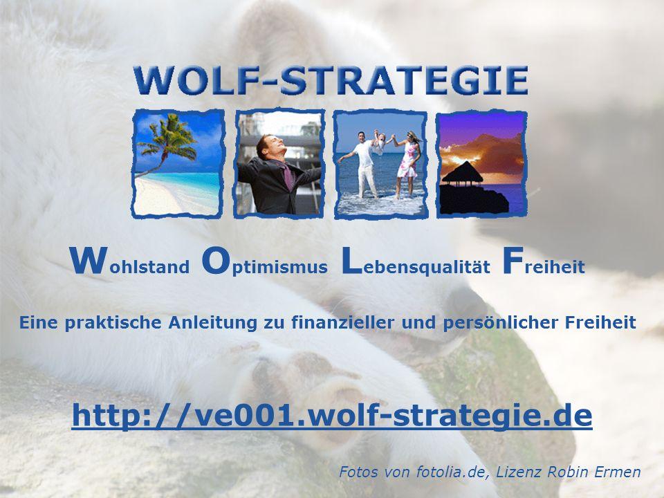 W ohlstand O ptimismus L ebensqualität F reiheit Eine praktische Anleitung zu finanzieller und persönlicher Freiheit http://ve001.wolf-strategie.de Fo