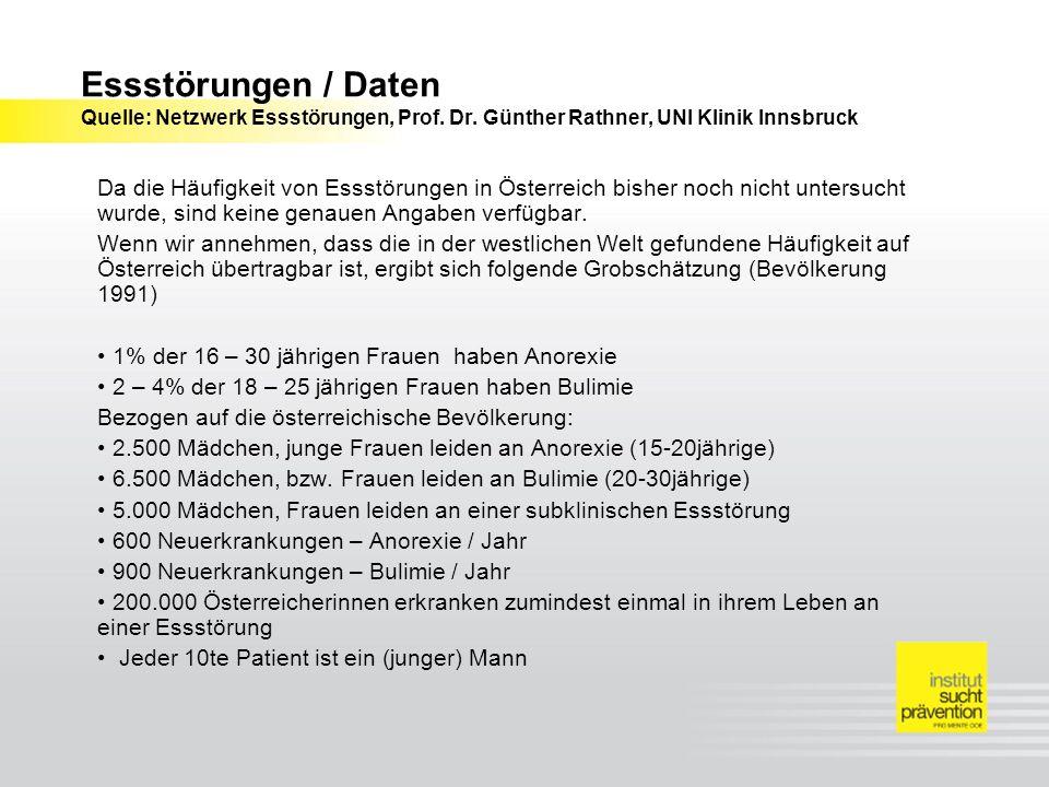 Essstörungen / Daten Quelle: Netzwerk Essstörungen, Prof. Dr. Günther Rathner, UNI Klinik Innsbruck Da die Häufigkeit von Essstörungen in Österreich b