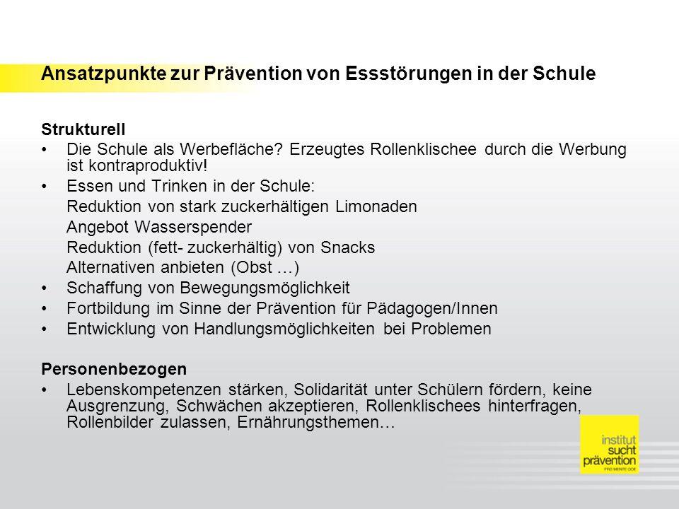 Ansatzpunkte zur Prävention von Essstörungen in der Schule Strukturell Die Schule als Werbefläche? Erzeugtes Rollenklischee durch die Werbung ist kont