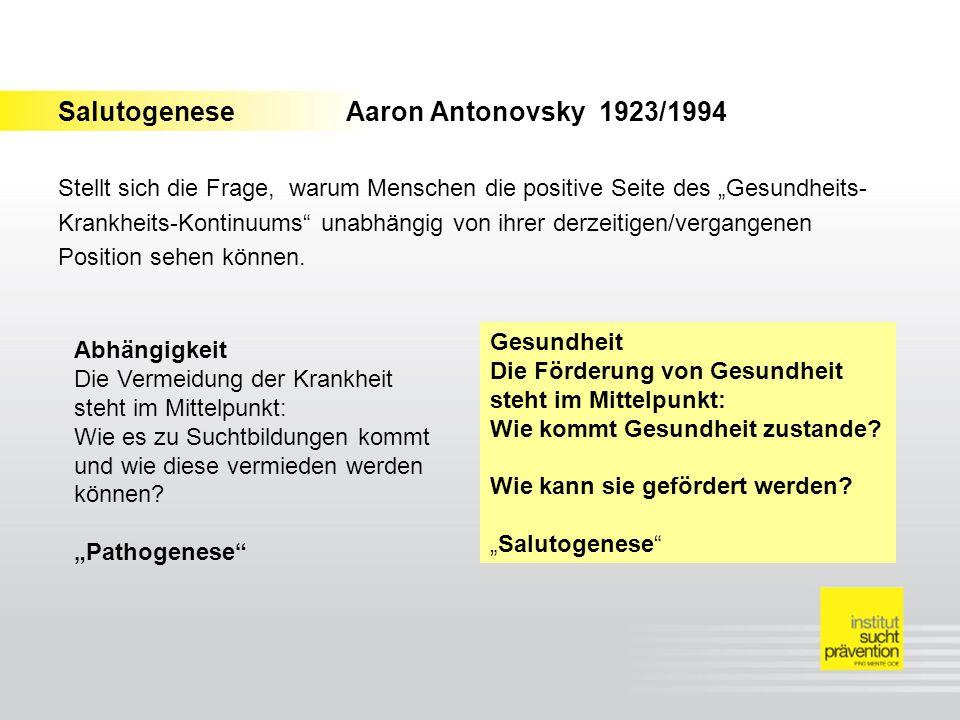SalutogeneseAaron Antonovsky 1923/1994 Stellt sich die Frage, warum Menschen die positive Seite des Gesundheits- Krankheits-Kontinuums unabhängig von