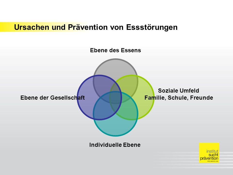 Ursachen und Prävention von Essstörungen Ebene des Essens Soziale Umfeld Familie, Schule, Freunde Individuelle Ebene Ebene der Gesellschaft