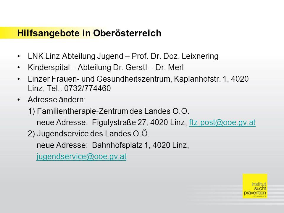 Hilfsangebote in Oberösterreich LNK Linz Abteilung Jugend – Prof. Dr. Doz. Leixnering Kinderspital – Abteilung Dr. Gerstl – Dr. Merl Linzer Frauen- un