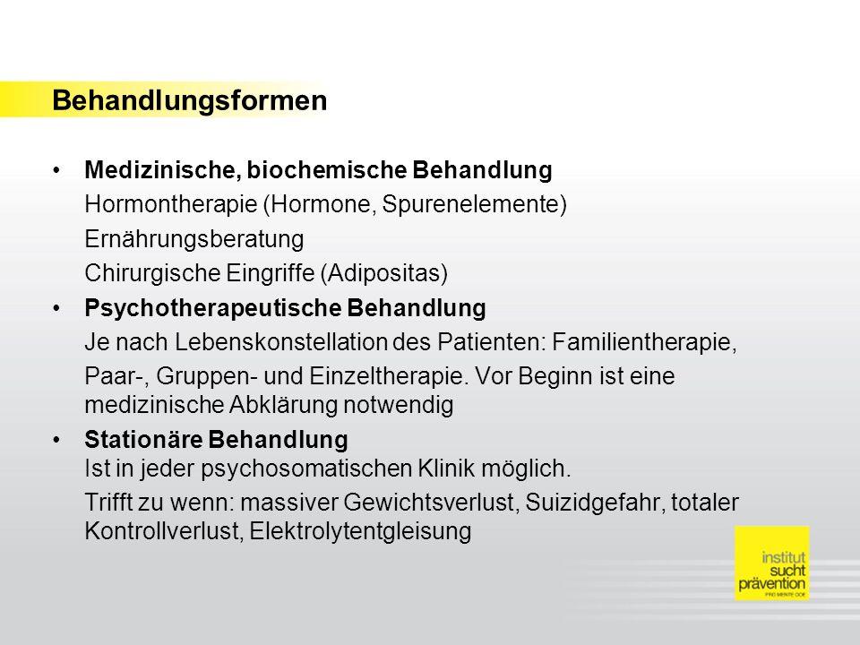 Behandlungsformen Medizinische, biochemische Behandlung Hormontherapie (Hormone, Spurenelemente) Ernährungsberatung Chirurgische Eingriffe (Adipositas