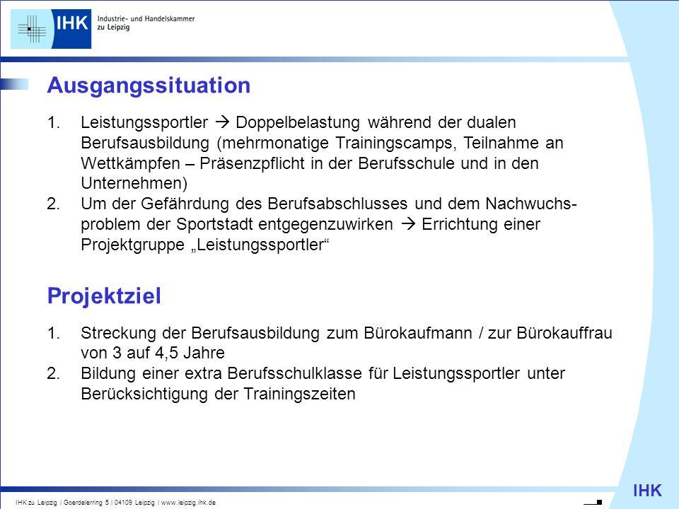 IHK IHK zu Leipzig   Goerdelerring 5   04109 Leipzig   www.leipzig.ihk.de Ausgangssituation 1.Leistungssportler Doppelbelastung während der dualen Ber