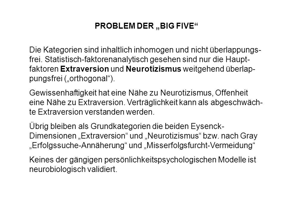 PROBLEM DER BIG FIVE Die Kategorien sind inhaltlich inhomogen und nicht überlappungs- frei. Statistisch-faktorenanalytisch gesehen sind nur die Haupt-