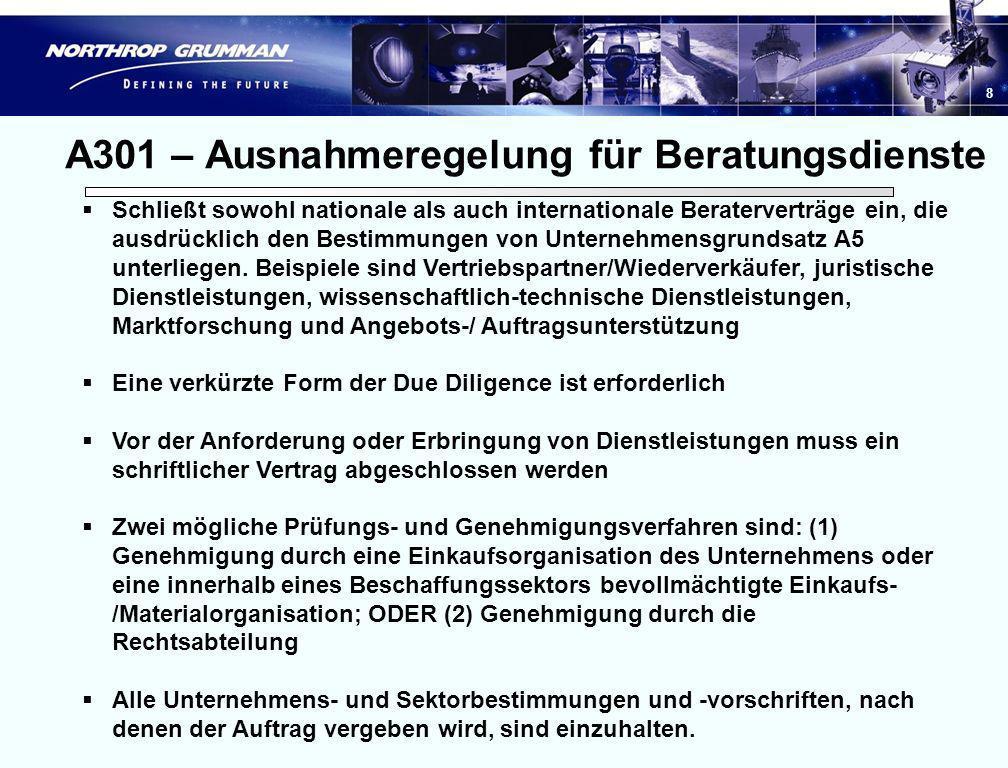 7 Unternehmensgrundsatz A301 - Fortsetzung Unternehmensgrundsatz A301 enthält die Bestimmungen für die Beauftragung Dritter mit der Vertretung des Unt