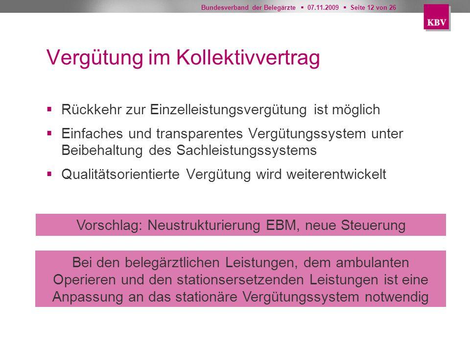 Bundesverband der Belegärzte 07.11.2009 Seite 12 von 26 Vergütung im Kollektivvertrag Rückkehr zur Einzelleistungsvergütung ist möglich Einfaches und