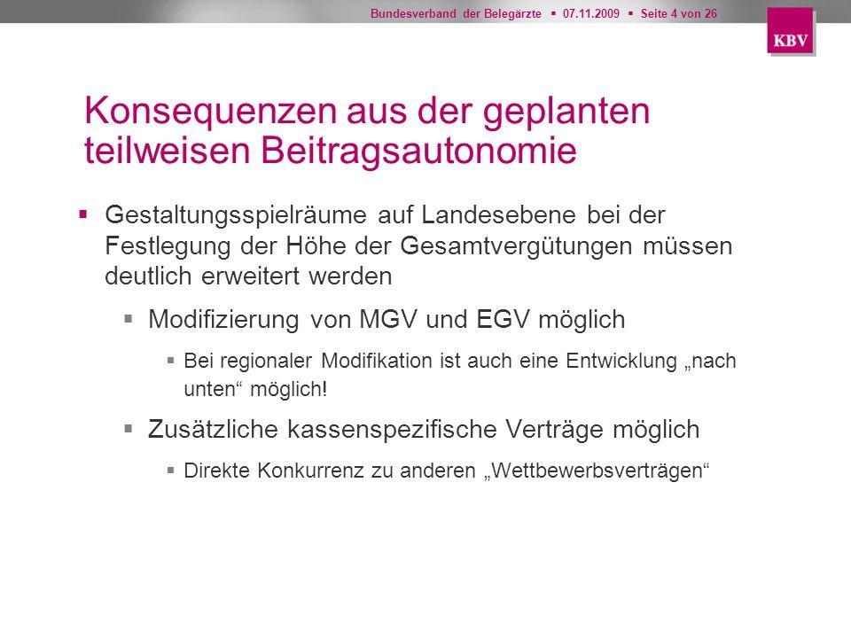 Bundesverband der Belegärzte 07.11.2009 Seite 4 von 26 Konsequenzen aus der geplanten teilweisen Beitragsautonomie Gestaltungsspielräume auf Landesebe