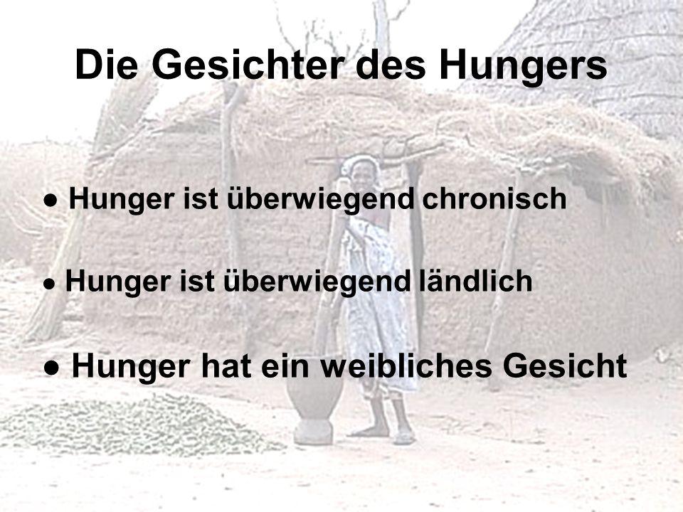 Die Gesichter des Hungers Hunger ist überwiegend chronisch Hunger ist überwiegend ländlich Hunger hat ein weibliches Gesicht
