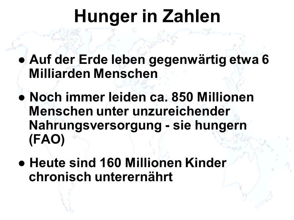 Hunger in Zahlen Auf der Erde leben gegenwärtig etwa 6 Milliarden Menschen Noch immer leiden ca. 850 Millionen Menschen unter unzureichender Nahrungsv