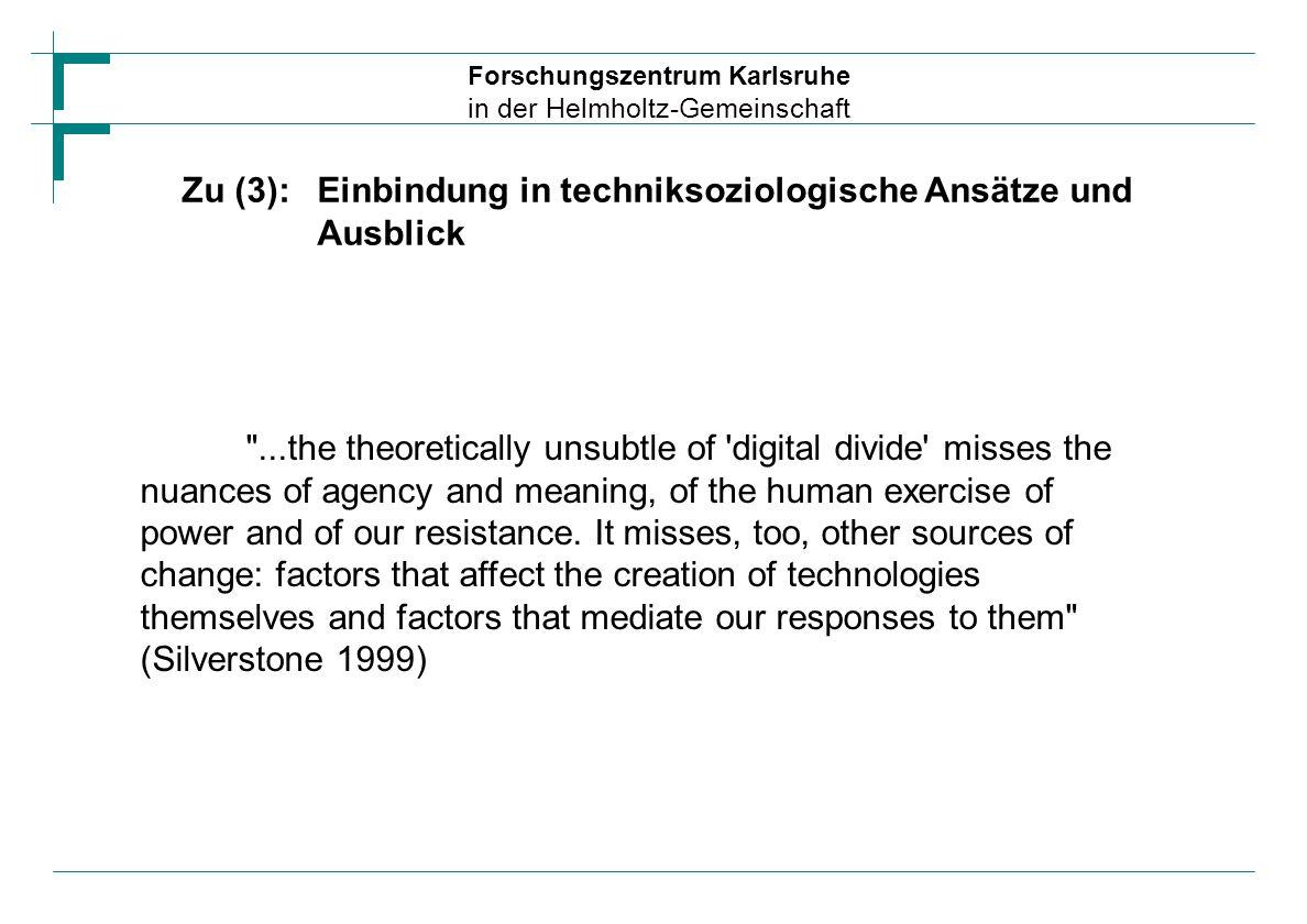 Zu (3):Einbindung in techniksoziologische Ansätze und Ausblick