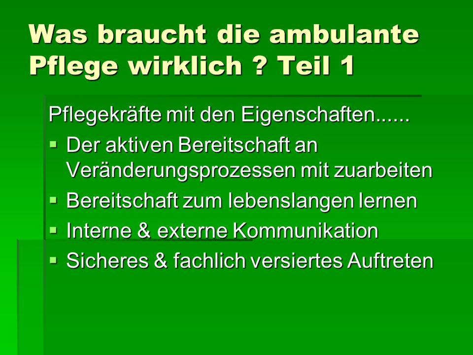 Was braucht die ambulante Pflege wirklich .Teil 1 Pflegekräfte mit den Eigenschaften......