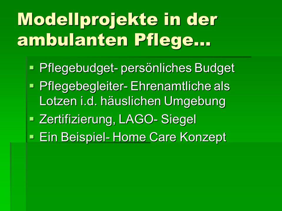 Modellprojekte in der ambulanten Pflege... Pflegebudget- persönliches Budget Pflegebudget- persönliches Budget Pflegebegleiter- Ehrenamtliche als Lotz