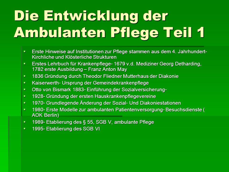 Die Entwicklung der Ambulanten Pflege Teil 1 Erste Hinweise auf Institutionen zur Pflege stammen aus dem 4.