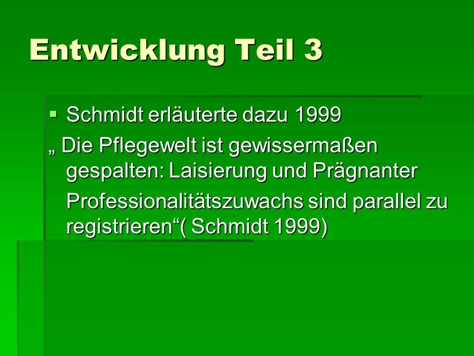 Entwicklung Teil 3 Schmidt erläuterte dazu 1999 Schmidt erläuterte dazu 1999 Die Pflegewelt ist gewissermaßen gespalten: Laisierung und Prägnanter Die Pflegewelt ist gewissermaßen gespalten: Laisierung und Prägnanter Professionalitätszuwachs sind parallel zu registrieren( Schmidt 1999)