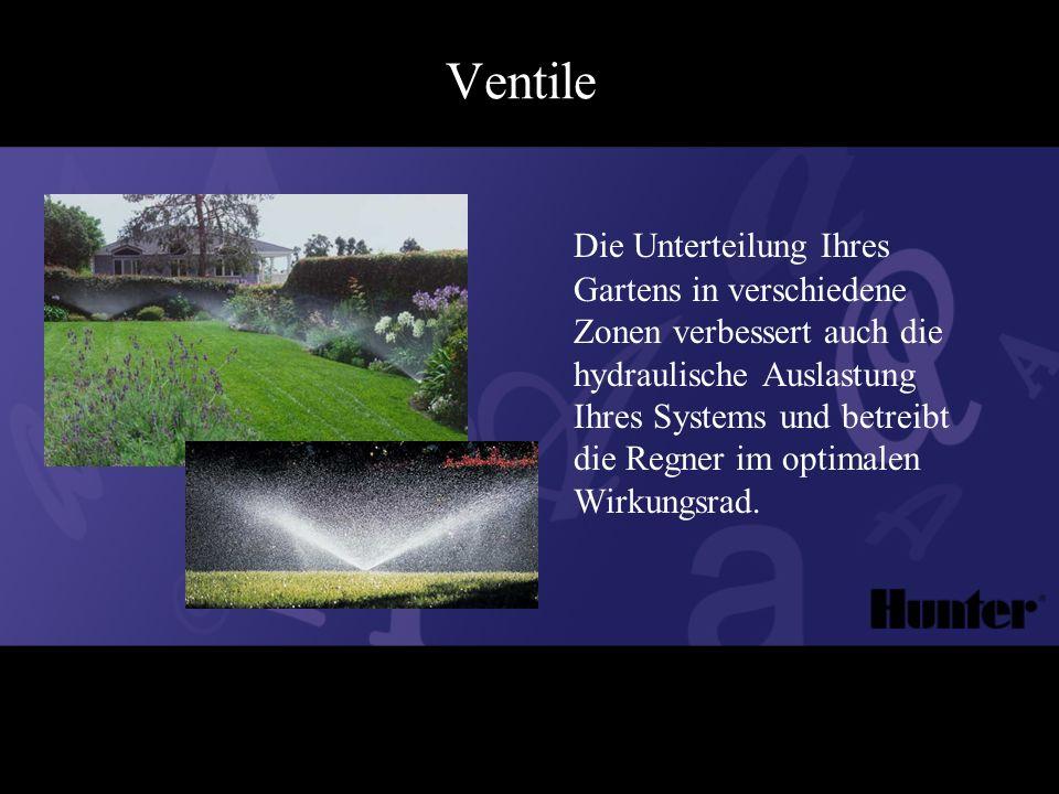 Ventile Die Unterteilung Ihres Gartens in verschiedene Zonen verbessert auch die hydraulische Auslastung Ihres Systems und betreibt die Regner im optimalen Wirkungsrad.