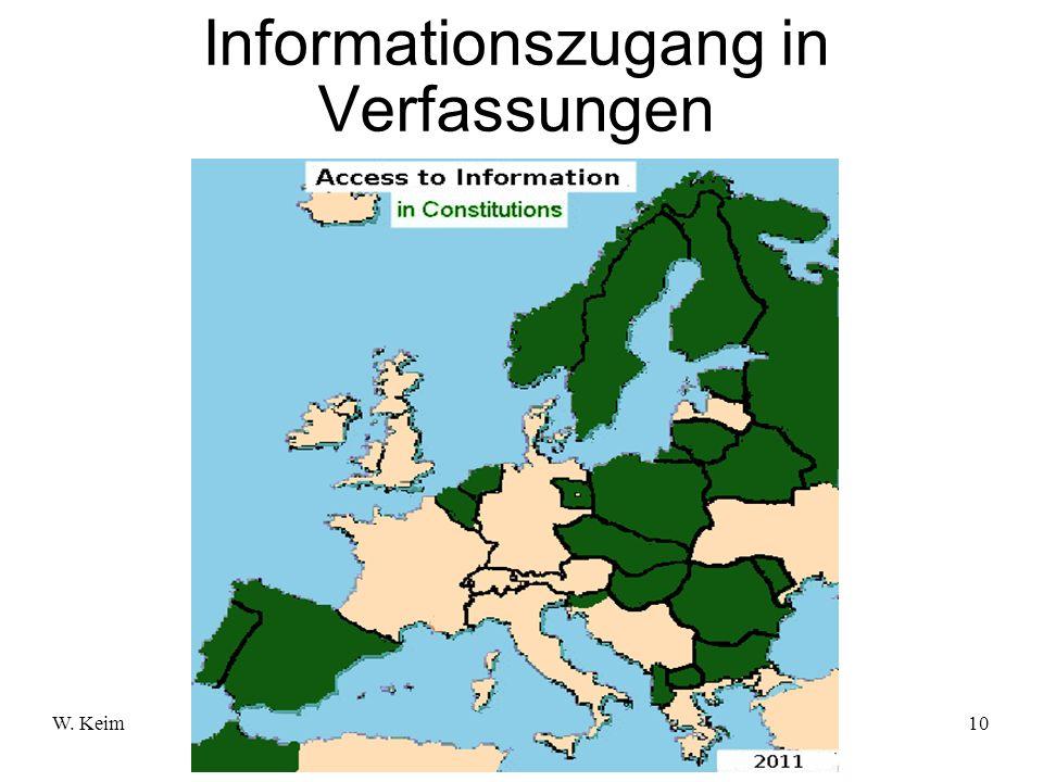 W. KeimMenschenrecht Informationszugang10 Informationszugang in Verfassungen