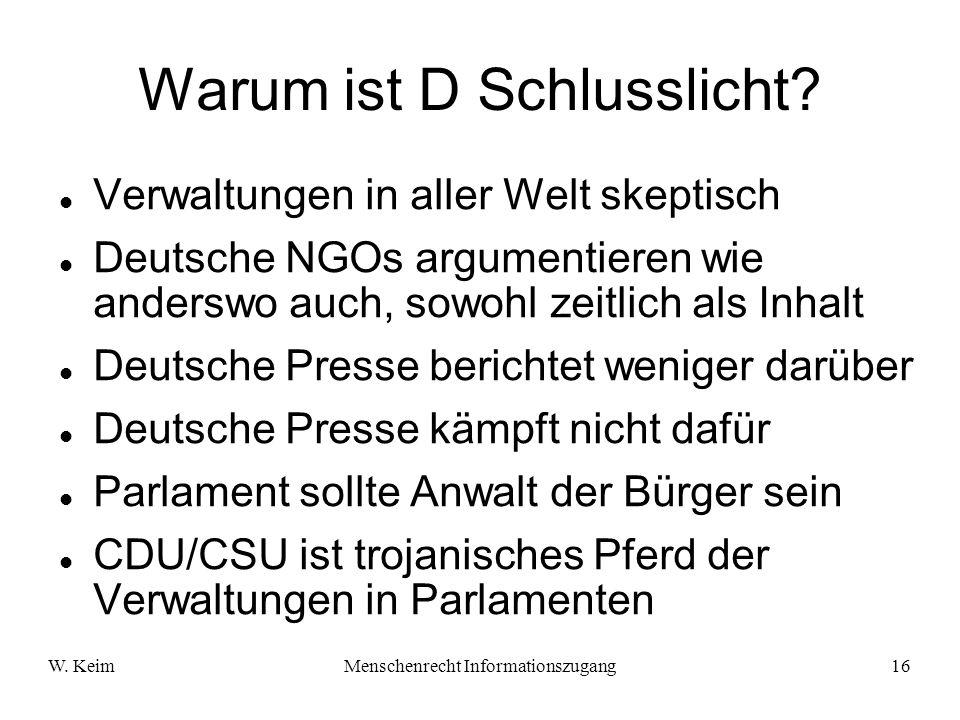 W. KeimMenschenrecht Informationszugang16 Warum ist D Schlusslicht? Verwaltungen in aller Welt skeptisch Deutsche NGOs argumentieren wie anderswo auch