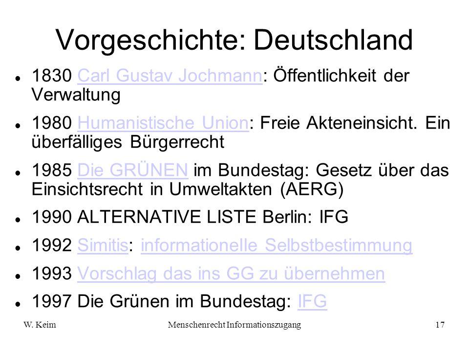 W. KeimMenschenrecht Informationszugang17 Vorgeschichte: Deutschland 1830 Carl Gustav Jochmann: Öffentlichkeit der VerwaltungCarl Gustav Jochmann 1980