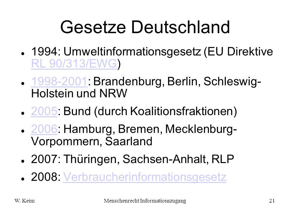 W. KeimMenschenrecht Informationszugang21 Gesetze Deutschland 1994: Umweltinformationsgesetz (EU Direktive RL 90/313/EWG) RL 90/313/EWG 1998-2001: Bra