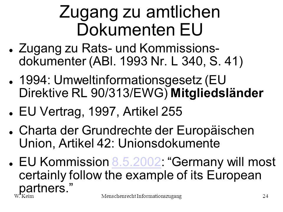 W. KeimMenschenrecht Informationszugang24 Zugang zu amtlichen Dokumenten EU Zugang zu Rats- und Kommissions- dokumenter (ABl. 1993 Nr. L 340, S. 41) 1