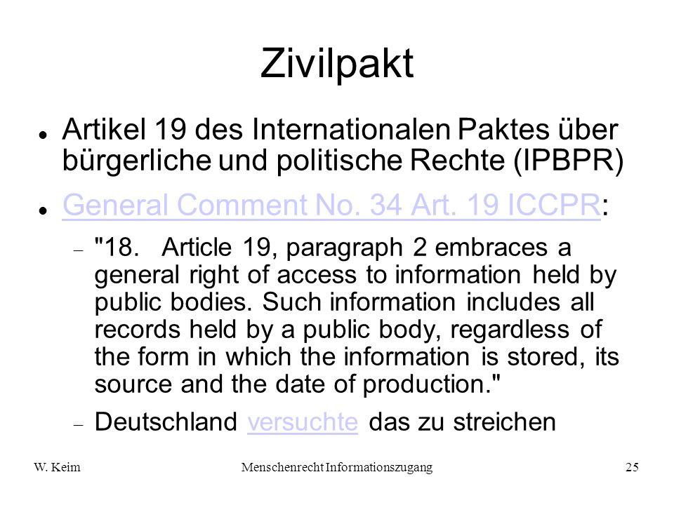 W. KeimMenschenrecht Informationszugang25 Zivilpakt Artikel 19 des Internationalen Paktes über bürgerliche und politische Rechte (IPBPR) General Comme