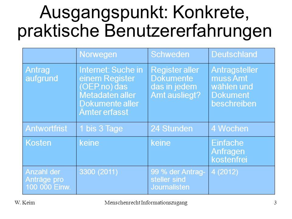 W. KeimMenschenrecht Informationszugang3 Ausgangspunkt: Konkrete, praktische Benutzererfahrungen NorwegenSchwedenDeutschland Antrag aufgrund Internet: