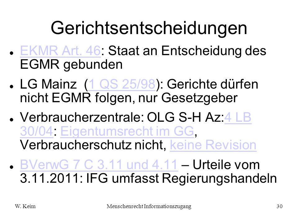 W. KeimMenschenrecht Informationszugang30 Gerichtsentscheidungen EKMR Art. 46: Staat an Entscheidung des EGMR gebunden EKMR Art. 46 LG Mainz (1 QS 25/