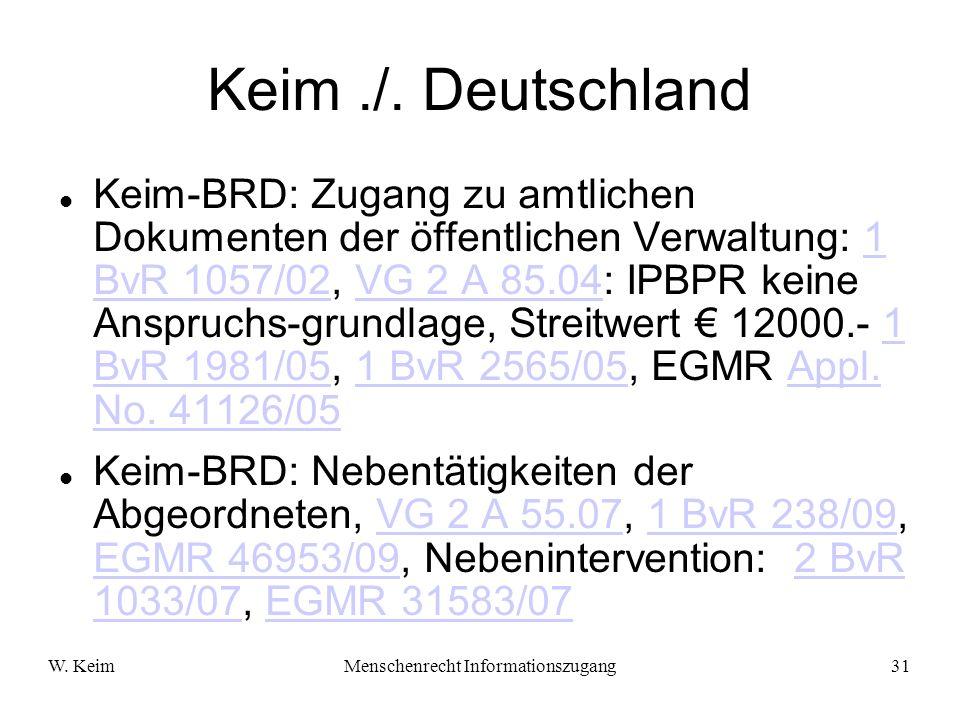 W. KeimMenschenrecht Informationszugang31 Keim./. Deutschland Keim-BRD: Zugang zu amtlichen Dokumenten der öffentlichen Verwaltung: 1 BvR 1057/02, VG