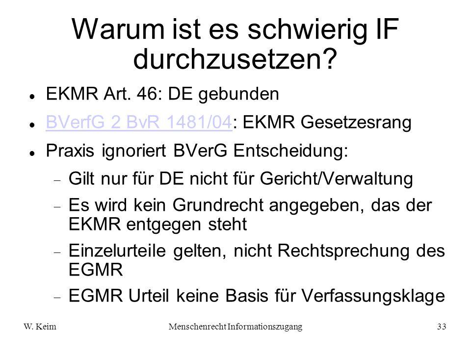 W. KeimMenschenrecht Informationszugang33 Warum ist es schwierig IF durchzusetzen? EKMR Art. 46: DE gebunden BVerfG 2 BvR 1481/04: EKMR Gesetzesrang B