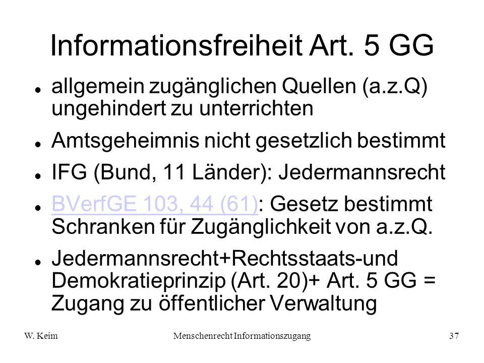 W. KeimMenschenrecht Informationszugang37 Informationsfreiheit Art. 5 GG allgemein zugänglichen Quellen (a.z.Q) ungehindert zu unterrichten Amtsgeheim
