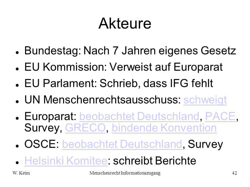 W. KeimMenschenrecht Informationszugang42 Akteure Bundestag: Nach 7 Jahren eigenes Gesetz EU Kommission: Verweist auf Europarat EU Parlament: Schrieb,