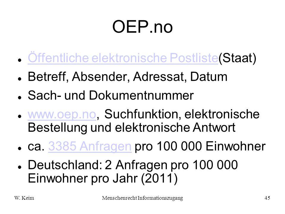 W. KeimMenschenrecht Informationszugang45 OEP.no Öffentliche elektronische Postliste(Staat) Öffentliche elektronische Postliste Betreff, Absender, Adr