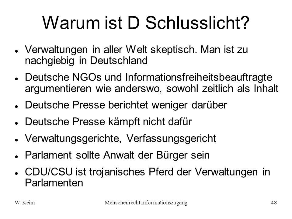 W. KeimMenschenrecht Informationszugang48 Warum ist D Schlusslicht? Verwaltungen in aller Welt skeptisch. Man ist zu nachgiebig in Deutschland Deutsch