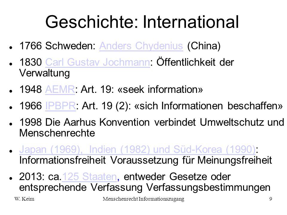 W. KeimMenschenrecht Informationszugang9 1766 Schweden: Anders Chydenius (China)Anders Chydenius 1830 Carl Gustav Jochmann: Öffentlichkeit der Verwalt