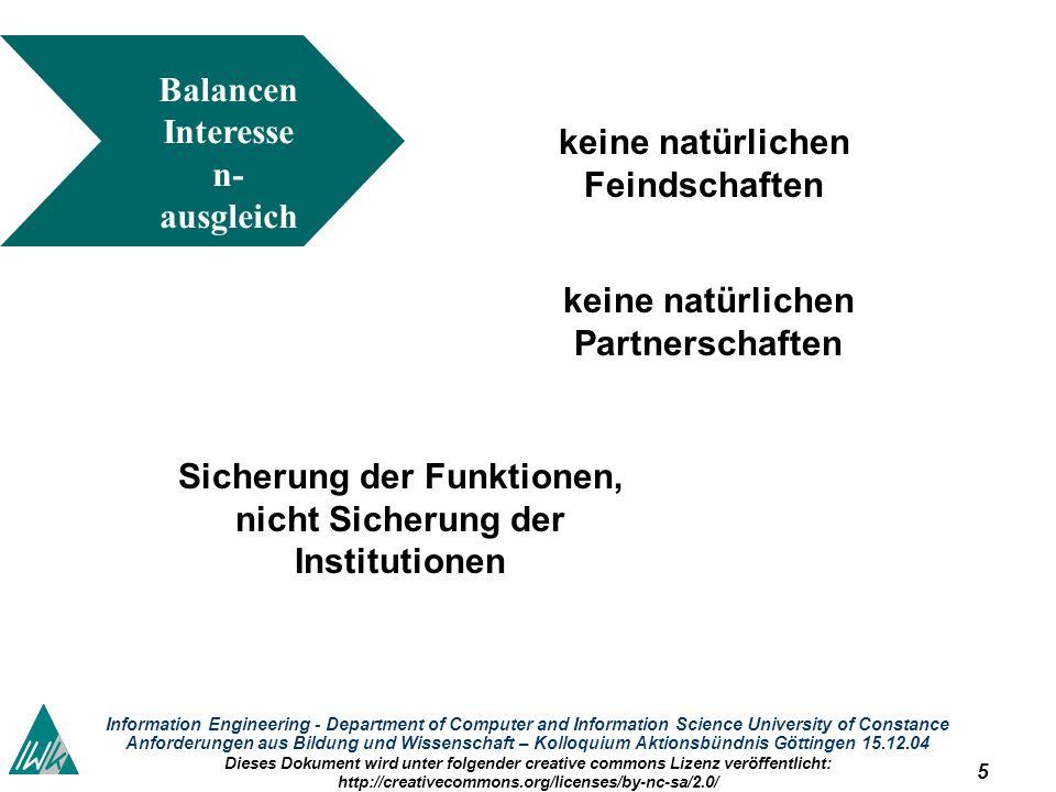 5 Information Engineering - Department of Computer and Information Science University of Constance Anforderungen aus Bildung und Wissenschaft – Kolloq