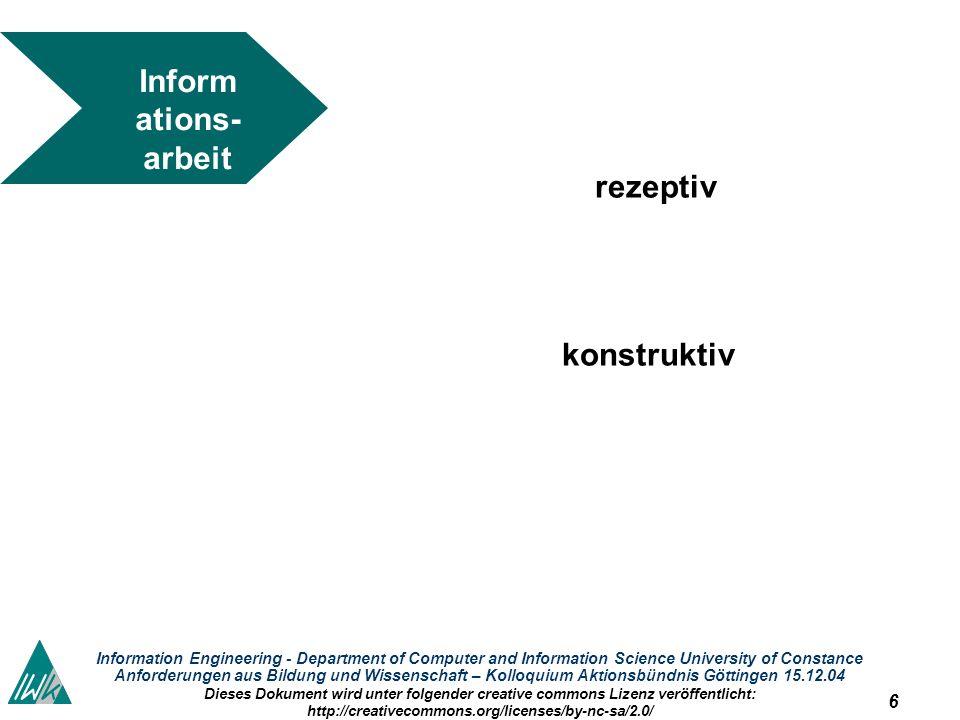 6 Information Engineering - Department of Computer and Information Science University of Constance Anforderungen aus Bildung und Wissenschaft – Kolloq