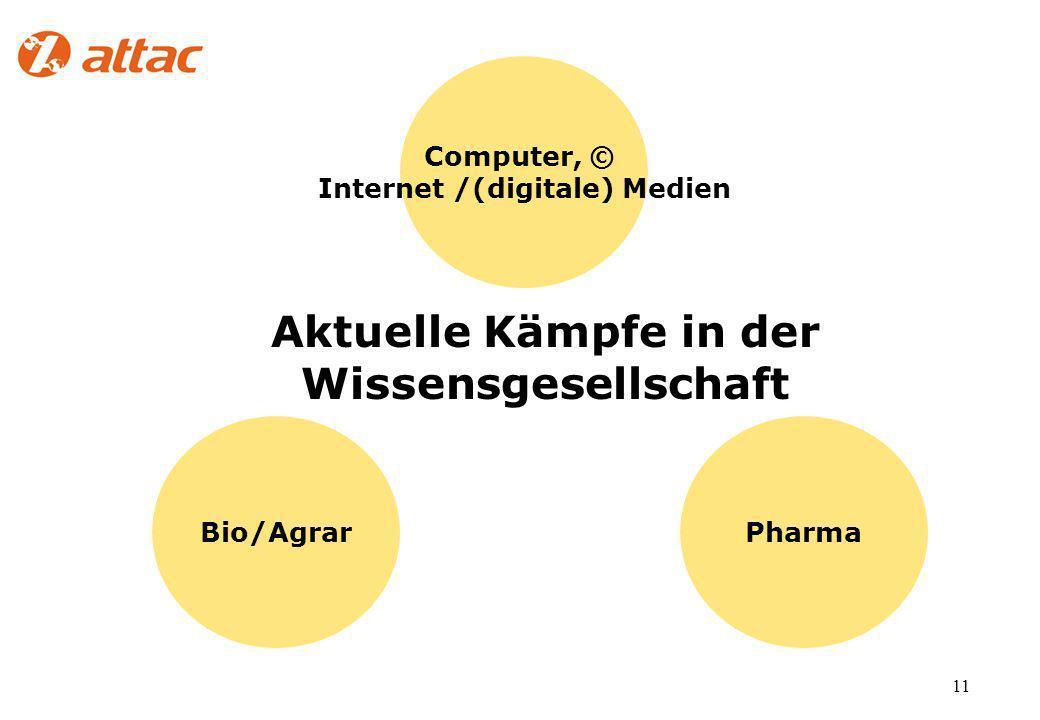 11 Aktuelle Kämpfe in der Wissensgesellschaft Bio/Agrar Computer, © Internet /(digitale) Medien Pharma