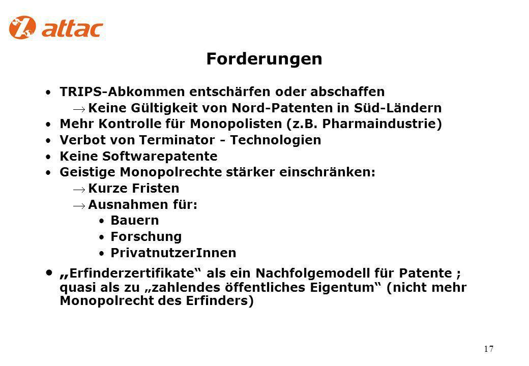 17 Forderungen TRIPS-Abkommen entschärfen oder abschaffen Keine Gültigkeit von Nord-Patenten in Süd-Ländern Mehr Kontrolle für Monopolisten (z.B.