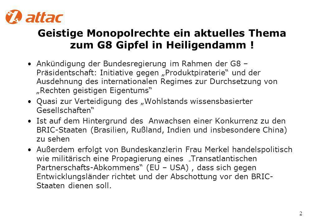 2 Geistige Monopolrechte ein aktuelles Thema zum G8 Gipfel in Heiligendamm .