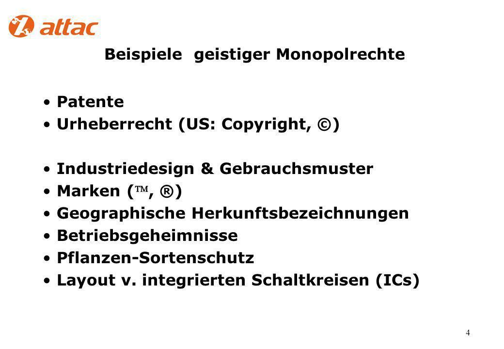 4 Beispiele geistiger Monopolrechte Patente Urheberrecht (US: Copyright, ©) Industriedesign & Gebrauchsmuster Marken (, ®) Geographische Herkunftsbezeichnungen Betriebsgeheimnisse Pflanzen-Sortenschutz Layout v.
