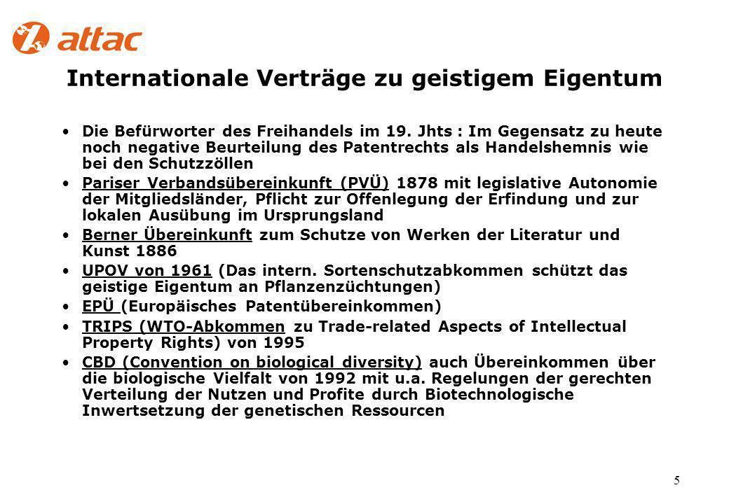 5 Internationale Verträge zu geistigem Eigentum Die Befürworter des Freihandels im 19.