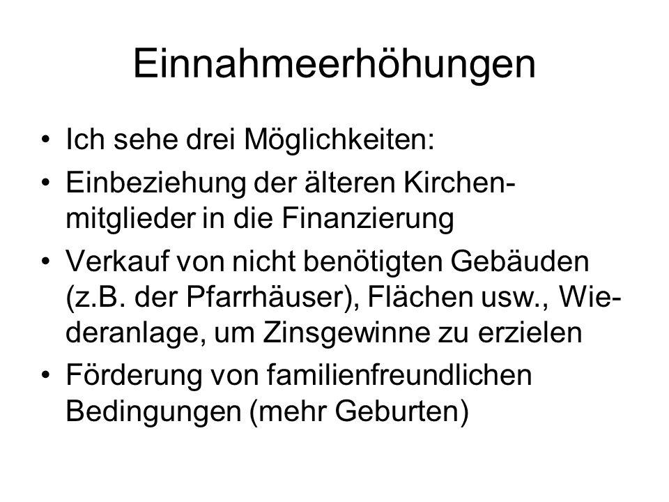 Strukturanpassungen Die laufende Unterschriftensammlung nennt: Anzahl der Landeskirchen (Oldenburg) Anzahl der Bischofsämter landeskirchlichen Verwaltungen viele kleine Gemeinden A 13/14 Verkündigung als Standard auch auf kleinen Versammlungen