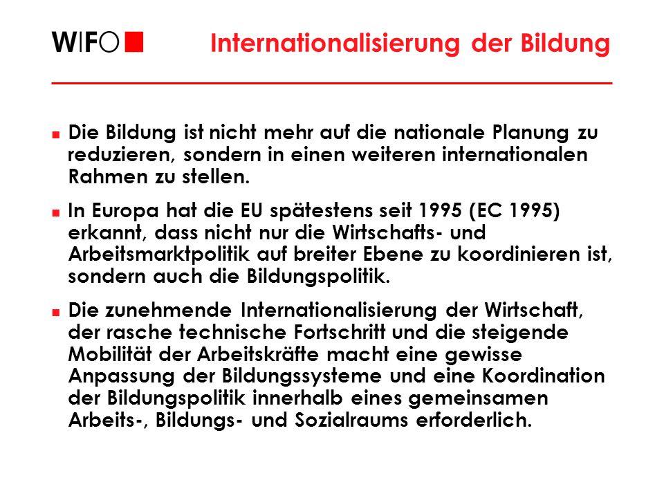 Internationalisierung der Bildung Die Bildung ist nicht mehr auf die nationale Planung zu reduzieren, sondern in einen weiteren internationalen Rahmen