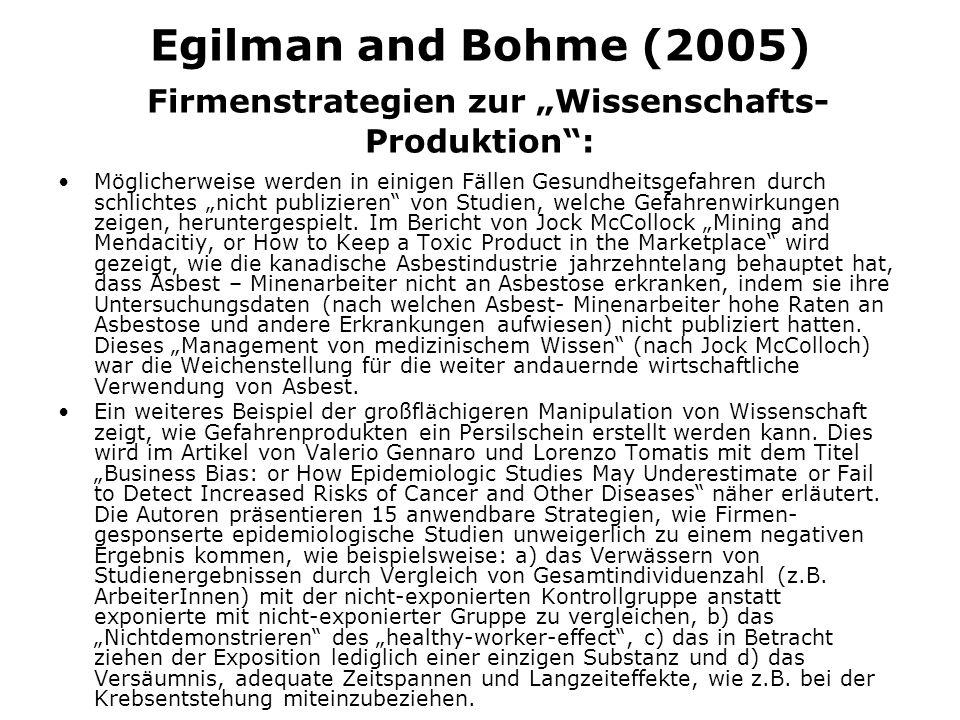 Egilman and Bohme (2005) Firmenstrategien zur Wissenschafts- Produktion: Möglicherweise werden in einigen Fällen Gesundheitsgefahren durch schlichtes nicht publizieren von Studien, welche Gefahrenwirkungen zeigen, heruntergespielt.
