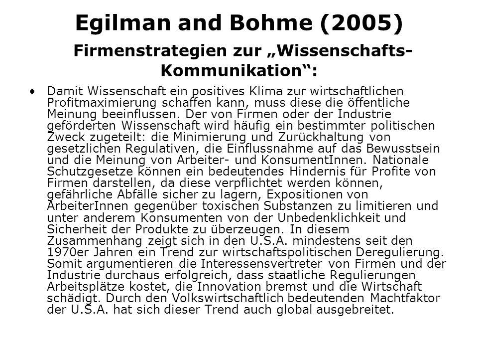 Egilman and Bohme (2005) Firmenstrategien zur Wissenschafts- Kommunikation: Damit Wissenschaft ein positives Klima zur wirtschaftlichen Profitmaximierung schaffen kann, muss diese die öffentliche Meinung beeinflussen.
